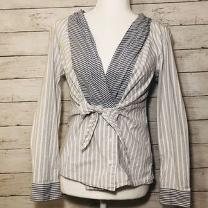 Anthropologie Odille pinstriped tie front blouse
